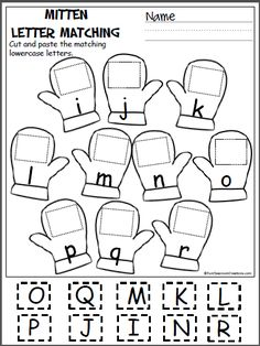 Free cut and paste letter matching activity for winter (i-r). Cut out the uppercase letters and paste them on the mittens with the matching lowercase letters. This page is from my Winter Math And L…