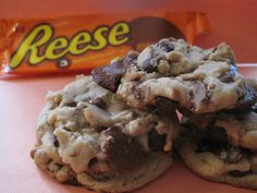Reeses PB Cup Cookies via the Nestle Tollhouse Choco Chip Recipe....Follow the tollhouse recipe but leave out the chocolate chips and replace with 1/2 bag of mini reeses. Favorite at my house and office:) Simply cut the PB Cups up and use as a Chocolate Chip Replacement:) They're amazing and they will last all of 15 minutes:)
