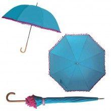 Bombay Duck Pom Pom Umbrella - Aqua