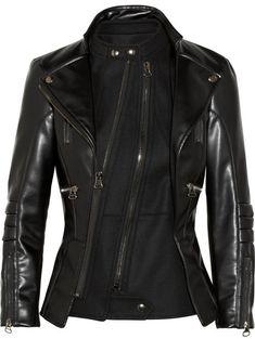 Altuzarra Felt-paneled faux leather biker jacket