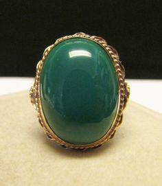 Vintage Estate  14K Green Onyx Cabochon Ring by Alohamemorabilia