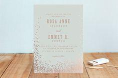 """Bubbly"" - Elegant, Formal Foil-pressed Wedding Invitations in Blush by Lori Wemple."