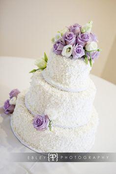 My wedding cake!! Love the coconut! (minus the purple!)