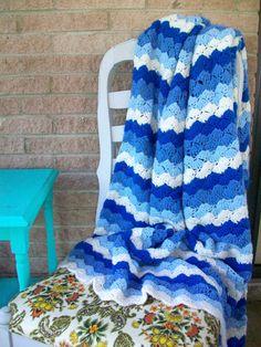 Chevron Crochet Afghan Stripes Blue White Crochet Afghan Blanket Throw