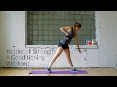 6 exercises, 55 repetitions per exercises, 30-minute total body strength and conditioning kettlebell workout for explosive strength and endurance.