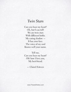 Beautiful friendship poem, words and poetry - Twin Stars. Beautiful words, love and friendship poem, poems, poetry by poet and writer Clairel Estevez - Short Friendship Quotes, Poetry Friendship, Bad Friendship, Best Friend Poems, Best Poems, Poems For Friends, The Words, Poems About Stars, Poems About The Moon