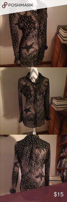 Cute sheer Black and Tan star button up, versitle NY collection top size small.  Black sheer (see through) elegant button up with unique tan star pattern can be worn in a multitude of ways, dressy or dressed down this top transforms into the look you want, when you want. NY Collection Tops Button Down Shirts