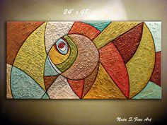Original  Art Abstract Fish Painting.Heavy por NataSgallery en Etsy
