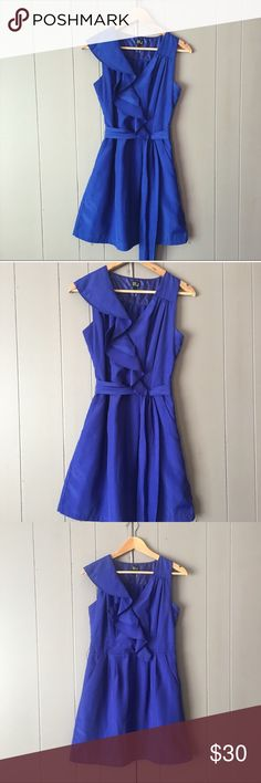 """Gorgeous Royal Blue Fit & Flare dress✨LIKE NEW✨ This is such a beautiful dress and would be perfect for any special occasion. Vneck with cascading ruffles on one side. Skirt is lined. Also has pockets. Zips o the side. It is in excellent used condition. 100% Polyester. Armpit to armpit is 18"""". Length is 34"""". Very J Dresses Mini"""