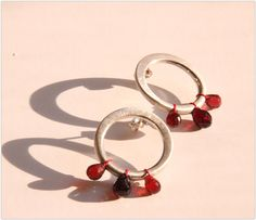 'JiaStyle' on Etsy (Xiaojia & Jean-Marc Waszack, Paris) Magic Fruit Earrings -with sterling silver, Garnet and Silk Thread