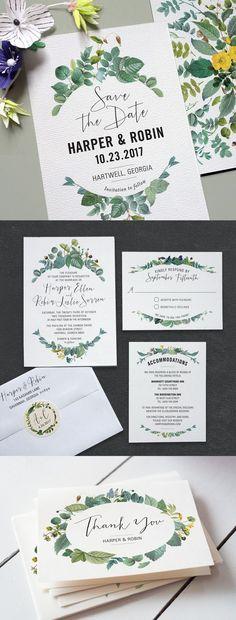 Printable Press Delicately Framed wedding invitation suite