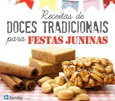 Receitas de doces tradicionais para festas juninas.