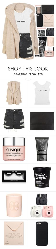 """""""heroin iz bangkoka."""" by dont-go-to-sleep ❤ liked on Polyvore featuring Topshop, Burberry, Clinique, NARS Cosmetics, Inglot, Tory Burch, Fujifilm, Dogeared and tiastopset"""