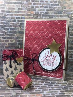 Warmth & Cheer designer series paper 50% off!  Details of this card, candy treat and sale on my blog!  #stampinbj.com