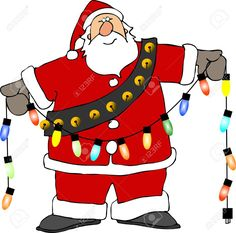Santa Holding Christmas Lights Stock Photo, Picture And Royalty ...