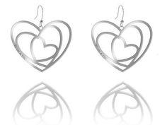 ORECCHINI CON CUORI RODIATI  Orecchini in argento 925 rodiati con pendenti a forma di cuore. pendente mm 5,50 x 4,50.  prices: $102.04