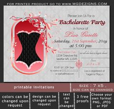 Printable Damask Black  Lace trim Corset  Lingerie Shower Invitation Template