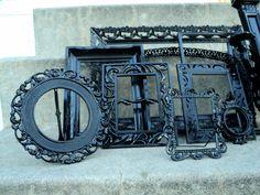 Large Black Picture Frame Set with Mirror Shelf Sconce Vintage. $109.00, via Etsy.
