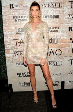 Hailey Baldwin in a beaded mini dress