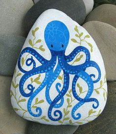 Best Easy Painted Rocks Ideas For Beginners (Rock Painting Inspirational & Stone Art) Rock Painting Ideas Easy, Rock Painting Designs, Painting For Kids, Children Painting, Pebble Painting, Pebble Art, Stone Painting, Octopus Painting, Painting Art