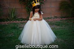 Flower Girl TuTu Dress. Ivory and Beige with 3 by giselleboutique, $115.00