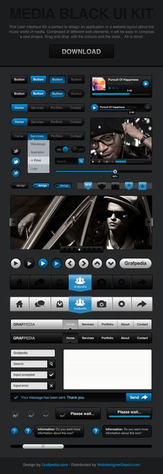 This one is called the Media Black UI Kit and contains graphic elements Game Ui Design, Graph Design, News Web Design, Web Design Company, Ui Kit, Ui Design Inspiration, Ui Elements, User Interface Design, Photoshop Design