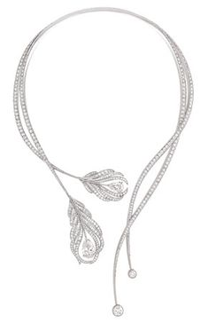 Chanel Fine Jewelry, Plume necklace in 18kt white gold, set with two pear cut 6.5 and 3.5 carat diamonds, and with 446 round cut and 159 baguette cut diamonds