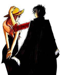 Luffy and Nami < 3 <3 <3