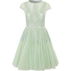 Ted Baker Miska Embellished Prom Dress (34 865 UAH) ❤ liked on Polyvore featuring dresses, vestidos, short dresses, green mini dress, green cocktail dress, mesh dress and green strapless dress