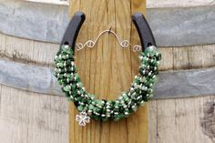Good Luck Beaded Horseshoe, Cowgirl Chic,, Barn Decor, St Patricks Day, Housewarming Gift, Tackroom Decor, Barn Bing, Western Decor on Etsy, $37.00