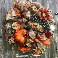 gorgeous wreaths ideas for thanksgiving door decoration 2019 Thanksgiving Door Decorations, Thanksgiving Wreaths, Autumn Wreaths, Holiday Wreaths, Fall Decorations, Thanksgiving 2020, Halloween Wreaths, Wreath Fall, Decoration Party
