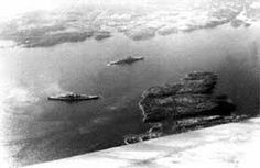 Luftwaffe photo of 15 in battleship Bismarck (bottom) and 8 in heavy cruiser Prinz Eugen in Norwegian waters during the early stages of the ill fated 'Exercise Rhine', May 1941.
