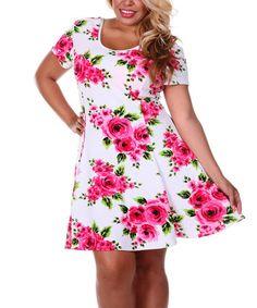 Look at this #zulilyfind! Ivory & Rose Bouquet Scoop Neck Dress - Plus #zulilyfinds
