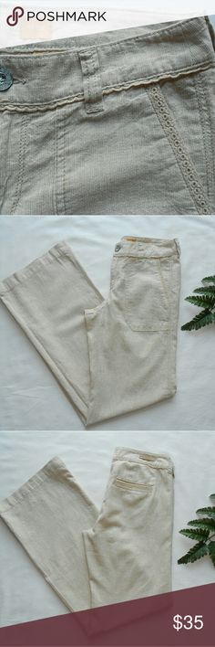 """Gorgeous Pilcro Linen Blend Trousers Summer ready, beautiful, breezy Pilcro and the Letterpress linen/cotten blend trousers in cream.  Relaxed fit, front slash pockets, back welt with crochet detail. In EUC, worn only once.   Waist 15"""" lying flat  Inseam 32"""" Anthropologie Pants"""