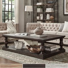 SIGNAL HILLS Edmaire Rustic Baluster Weathered Pine 60-inch Coffee Table | Overstock.com Shopping - The Best Deals on Coffee, Sofa & End Tables