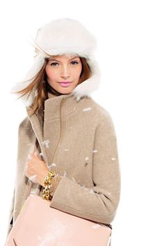 J.Crew Toscana shearling trapper & Stadium-cloth cocoon coat. - Love this.  Looks very warm & cozy.