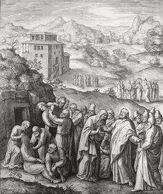 Phillip Medhurst presents John's Gospel: Bowyer Bible print 5455 Christ raises Lazarus John 11:44 Passeri on Flickr. A print from the Bowyer Bible, a grangerised copy of Macklin's Bible in Bolton Museum and Archives, England.