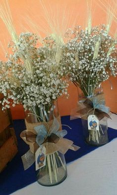 Resultado de imagen para gypsophila and wheat centerpieces first communion Wheat Centerpieces, Boy Baptism Centerpieces, Communion Centerpieces, First Communion Decorations, First Communion Party, Baptism Decorations, Baptism Party, First Holy Communion, Boys First Communion Cakes