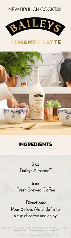 Make your almondmilk lattes even better by adding Baileys Almande™ to your coffee when you're out for brunch or hosting your own at home! This almondmilk liqueur is dairy-free and gluten-free, making it the perfect, light-tasting drink for warmer weather.