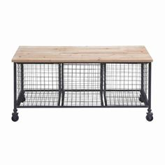 Wire Basket Rolling Bench | Overstock.com Shopping - The Best Deals on Baskets & Bowls