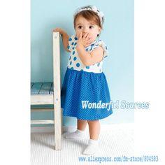 Free shipping Baby Clothes Summer girl romper dress Infant blue dot ruffles dress kids clothing skirt/Baby wear, 5pcs/lot