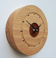 Small Round Oak Wall Clock with Elm Face Mantel Clocks, Wall Clocks, Surf Room, Clock Ideas, Clock Faces, Wooden Clock, Wooden Watch, Cnc Router, Tobias