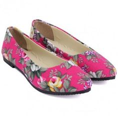 Hot-sale Big Size Colorful Floral Slip On Flat Pointed Toe Loafers - NewChic