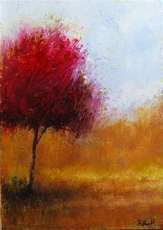 """""""Red Tree in the Park"""" - Original Fine Art for Sale - © Bob Kimball"""