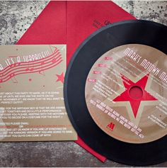 Custom 45 RPM vinyl record invitations designed by Lepenndesigns. A Motown themed birthday party featured a REAL record and coordinating insert card.