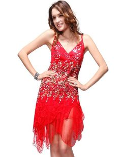 Sexy v neck cocktail dress Ever Pretty Vogue Lace Sequined V-neck Chic Cocktail Party Club Dress