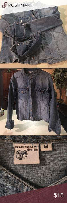 Denim Jacket This denim jacket can be worn as a shirt as well with a white V neck T...it does not matter how you wear...just wear with class! Size M. Purchased from local boutique.... great Condition! Jackets & Coats Jean Jackets