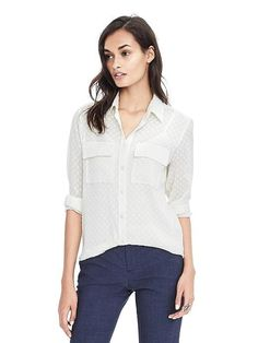 Dillon-Fit Clip Dot Shirt