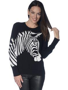 Christopher Fischer Women's Konami Zebra Intarsia Cashmere Sweater