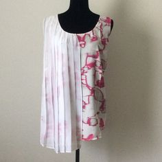 SALE  ✨08/22 HP✨NWT pleated overlay top Fuchsia & white. Pleated overlay drapes down the front off one side. Scoop neck.   lvfvfvvlz Lane Bryant Tops
